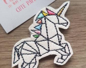 Glitter Geometric Unicorn Sketch Paper Clip