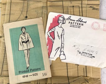 1950s Vintage Sewing Pattern Anne Adams Cape & Pants 4848 Size 16 Mail Order