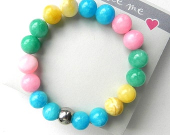 Marble bracelet Genuine stones 10 mm Beaded bracelet Stretch bracelet Happyness jewelry Multicolor Simply Summer Spring Gift for her
