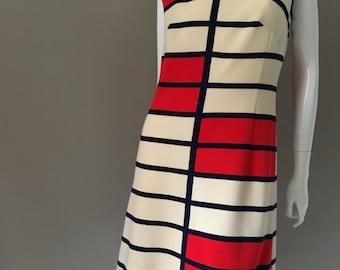 Fabulous Vintage 60s mod Kio Model mondrian style wool jersey mini dress german design