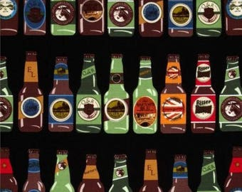 Beer Bottles Man Cave Brewers Ale 100% Cotton Fabric by Kanvas #385