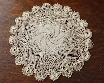 Irish Lace Doily Antique Irish Crochet 3 Dimensional Flowers 11 Inch Mocha