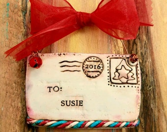 Custom Personalized Vintage Feel Air Mail / Snail Mail Keepsake Polymer Clay Ornament (perfect for postal employees)