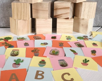 Succulent, Cactus Baby Shower Block Kit, 10 Blocks, Cut out 2 inch squares + letters to spell baby's name, Pink, Yellow, Teal, Nursery Decor