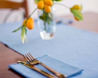 Reversible Table Runner – Duck Egg Blue - Hemp / Organic Cotton