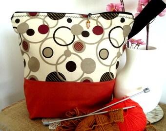 Aumônière de sac de projet tricot zippée tricot crochet sac chaussette projet châle projet sac taille moyenne-grande projet sac pour tricoteuses #8