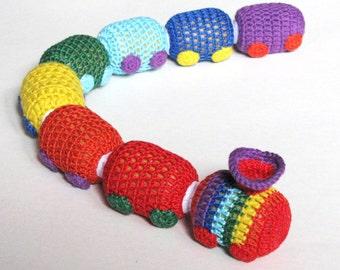 Baby rattle, Crochet toys, Toys for boys, Educational toys, Baby toddler toys, Colors, Rainbow Train-rattle, Crochet Train