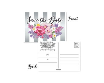 Floral Save the Date Postcards -   Set of 50 Postcards - 4 x 6  Postcards - B17027