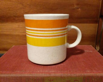 Vintage Brendan Erin Stone Ireland Yellow Orange Cream Striped Mug