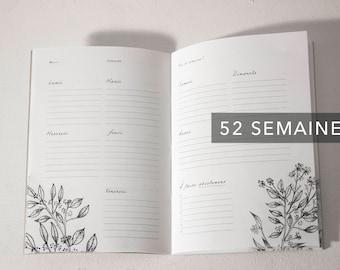 Notebook / Planner week floral - 52-week - weekly - Organizer - notebook - Notebook - Weekly Planner