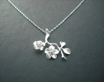 Sterling Silver Chain - cherry blossom branch necklace