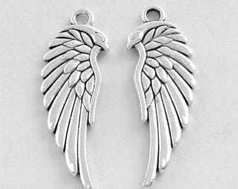 15 Wing Feathers Bird Antique Silver Charms Pendant 12mm x 33mm (263)