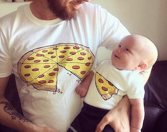 Daddy Daughter Dad Son Matching T shirts Pizza One Slice Missing Pizza Family Matching Tees Shirts Outfits Sets Fathers Day Gifts - Single