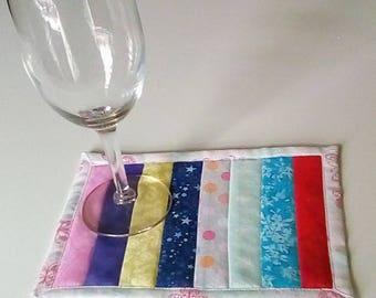 Scrappy Stripe Mug Rug Snack Mat Coaster