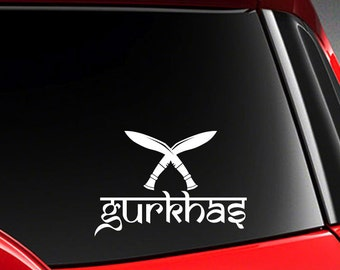 """Nepal India design of Gurkhas & Kukri Nepali character Car Decal Sticker 6"""" (w)"""