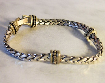 Silver Chain Bracelet    Southwest  Bali Style   7 inch