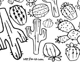 Cactus coloring Etsy