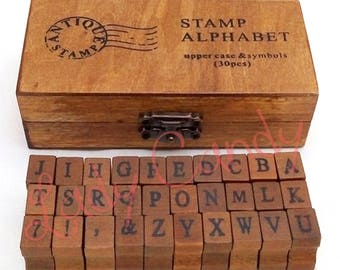 Box Alphabet stamps typed shift-punctuation / box wood #4330