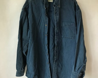 Denim Shirt- Size XL - Dark Blue - Jean Shirt - L.L. Bean - Distressed - Button Up - Button Down