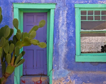 Blue Door and Window Santa Fe Southwestern Adobe House southwest architecture Prickly Pear Cactus, Charming Adobe Home, photo on canvas.