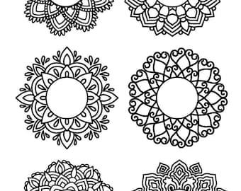 Mandala monogram svg, Mandala frame, Circle monogram svg, Cut files for Cricut, Files for Silhouette Cameo