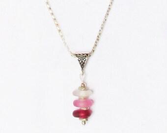 Ornate Sea Glass Pendant Pink Passion