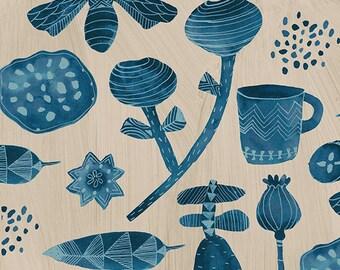 Windham Dreamer Carrie Bloomston Favorite Things Stone Blue Flower Mug on Cream Fabric BTY 42569-3