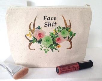 Fair Trade Pouch, Organic Cotton Makeup Bag, Large Makeup Bag, Boho Makeup Bag, Makeup Bag, Give Back Makeup Bag, Earth Day Makeup Bag, Eco