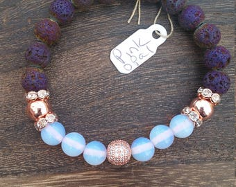 8mm Pink Opal and Rose Gold Hematite Aromatherapy Bracelet