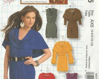 McCall's 5705 Sizes 4 - 6 - 8 - 10 - 12 Misses'Dresses With Sleeve And Cowl Neckline Variations
