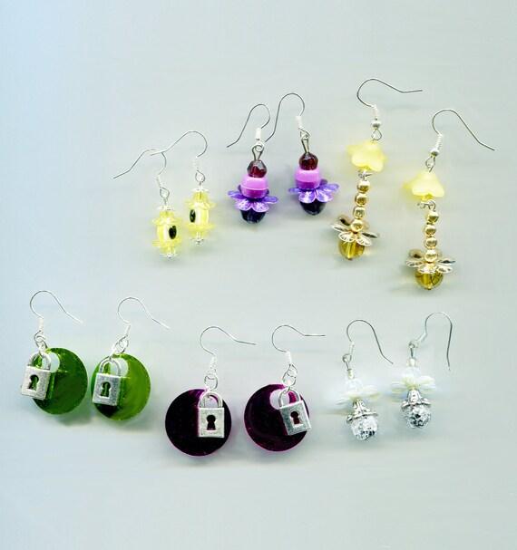 6 pairs bead drop dangle earrings lot womens teens wholesale sequin earrings padlock flowers jewelry handmade