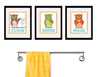 Bathroom Owl theme Kids Art - Set of Three 8 x 10 Bathroom Decor Prints - Owl Theme bathroom art, children wall art, bathroom art, kids bath