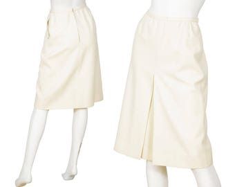 Christian Dior Haute Couture 1970s Vintage Cream Wool Knee Length Skirt Sz XS