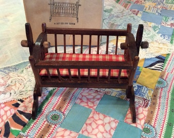 Concord Miniature Colonial Cradle, Dollhouse Furniture ,Swinging baby cradle