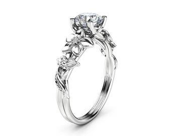 Moissanite Engagement Ring 14K White Gold Moissanite Ring Unique Flower Design