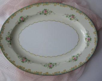 Large Vintage Noritake Adela Seafoam Green and Pink Serving Platter