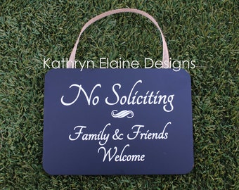 No Soliciting Family & Friends Welcome Wooden Sign, No Soliciting Sign, No Solicitation Sign, Welcome Sign