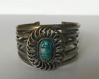 Vintage Egyptian brass scarab bangle cuff