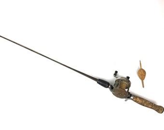 Antique Fishing Rod and Reel 1930s Metal Square Fishing Rod True Temper Raider Rod Vintage Hiawatha Fishing Reel One Piece Square Rod