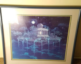 Gilbert Williams Moon Temple Lithograph 1984 Visionary New Age Fantasy Art Spiritual Vintage Framed Matted Ready to Hang Mystical Artwork