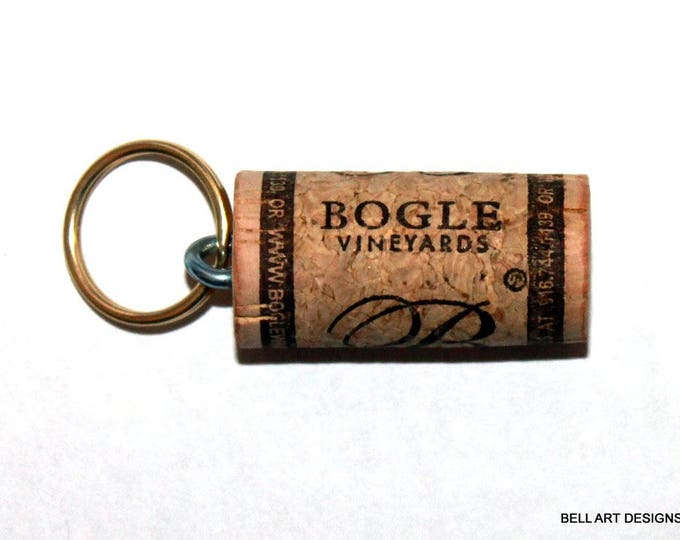 WINE CORK KEYCHAIN, Bogle Vineyards, Floating, Multiple Key, Bell Art Designs, KC0251