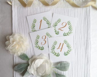 PRINTED Wedding Table Numbers - Style 05 - Watercolor GARDEN COLLECTION  Set of 20