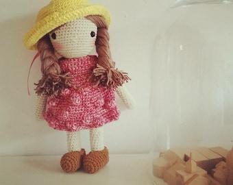 Crochet doll -  Raspberry dessert girl