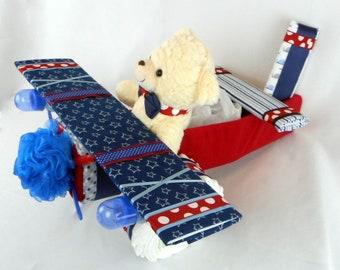 Airplane Diaper Cake - Diaper Cake - Baby Shower Gift or Centerpiece - Baby Boy, Baby Girl, Gender Neutral