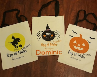 Halloween Bags - trick or treat - witch bag - Jack o lantern bag - spider bag- spider - witch - Jack o lantern