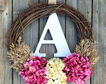 Monogram Wreath, Spring Door Wreath,Spring Wreath, Summer Monogram Wreath, Summer Wreath, Spring Door Wreath, Wedding Wreath, Letter Wreath