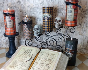 Halloween Themed Paper Candles (set of 2)