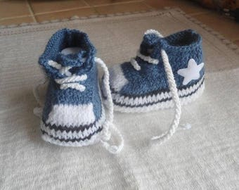 baby/reborn shape basketball jeans blue 0/3 months booties