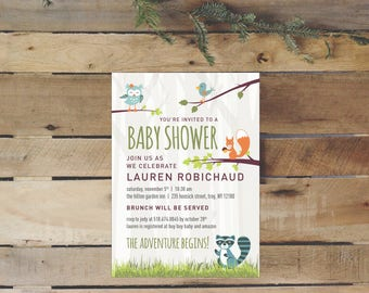 Woodland Creatures Baby Shower Invitation