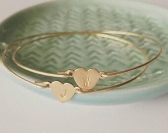 Personalized brass heart bangle, dainty modern jewelry